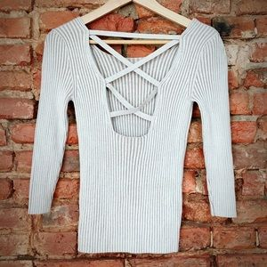 Strappy ribbed sweater